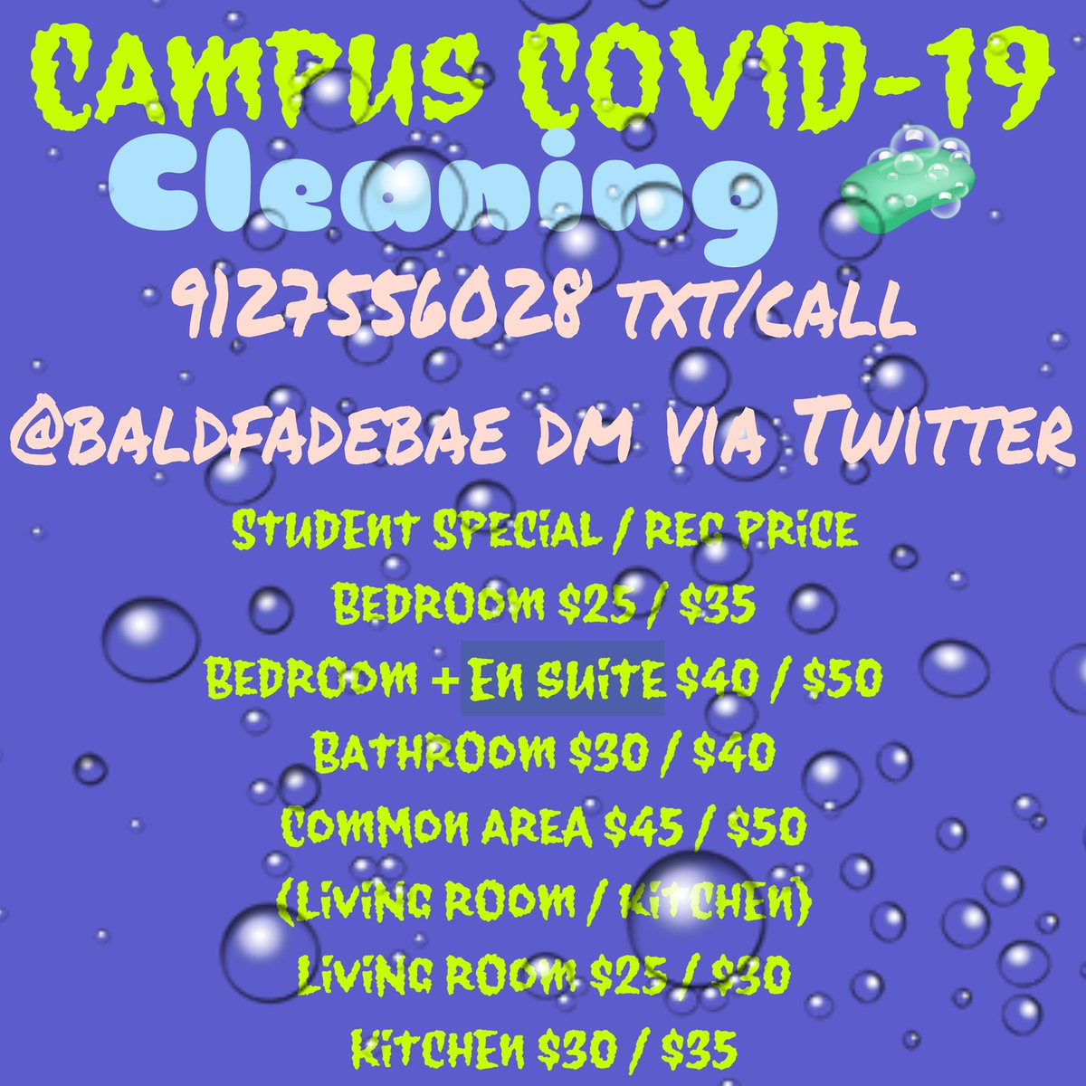 A clean space is a happy and healthy one. I am doing a affordable cleaning service geared towards GSU and SSU students. It's also open to anyone needing a little help keeping their space clean through this Covid Pandemic 😷💗🧼 https://t.co/h6okxAtw7q