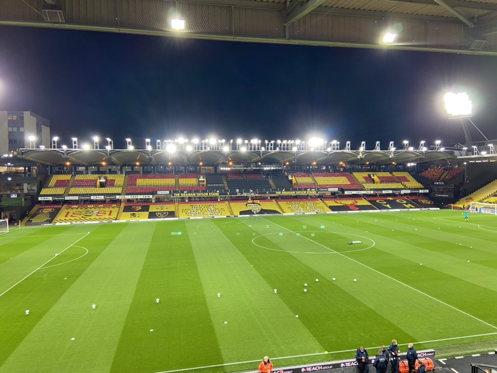 ⏰ 45' until kick off and the Vic is looking glorious.   #watfordfc #BRFC https://t.co/InuJIDCxYM https://t.co/Vq4Q4WLyOk
