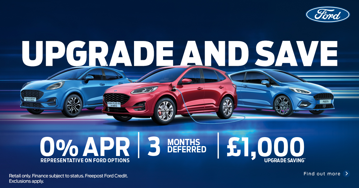 It's three promotions in one!  Find out how you can upgrade your car to a selected new #Ford with 3 months deferred payment, 0% APR and £1000 additional saving.    Find out more by visiting us in the showroom or at https://t.co/RW6XV1pWnv  #stratforduponavon #warwickshire https://t.co/MKYQw8n2ew