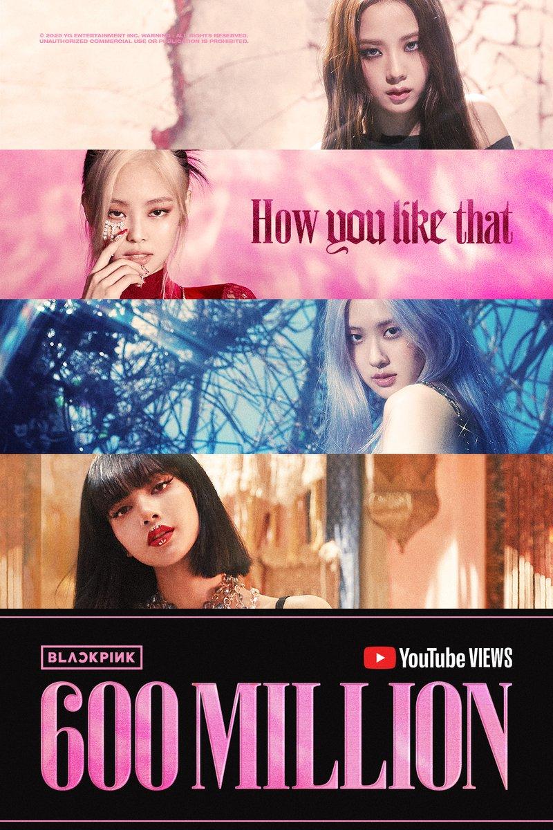 #BLACKPINK 'How You Like That' M/V HITS 600 MILLION VIEWS @Youtube BLINKs worldwide, thank you so much!  'How You Like That' M/V 🎬https://t.co/lShbHauSu0  #블랙핑크 #HowYouLikeThat #MV #600MILLION #YOUTUBE #YG https://t.co/c40Wdndojl