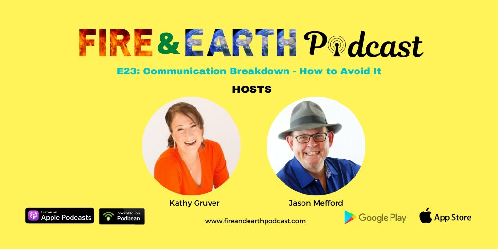 E23:Communication Breakdown- How to Avoid It https://t.co/E9R4Bri9y9  #EP23 #fireandearthpodcast #podcast #speakers #podcasters #Podbean #Episodes #kathygruver #jasonmefford #podcastinglife #podcasting #Communication #communicationbreakdown #breakdown #avoidcommunicationbreakdown https://t.co/rBYDvSYYyR