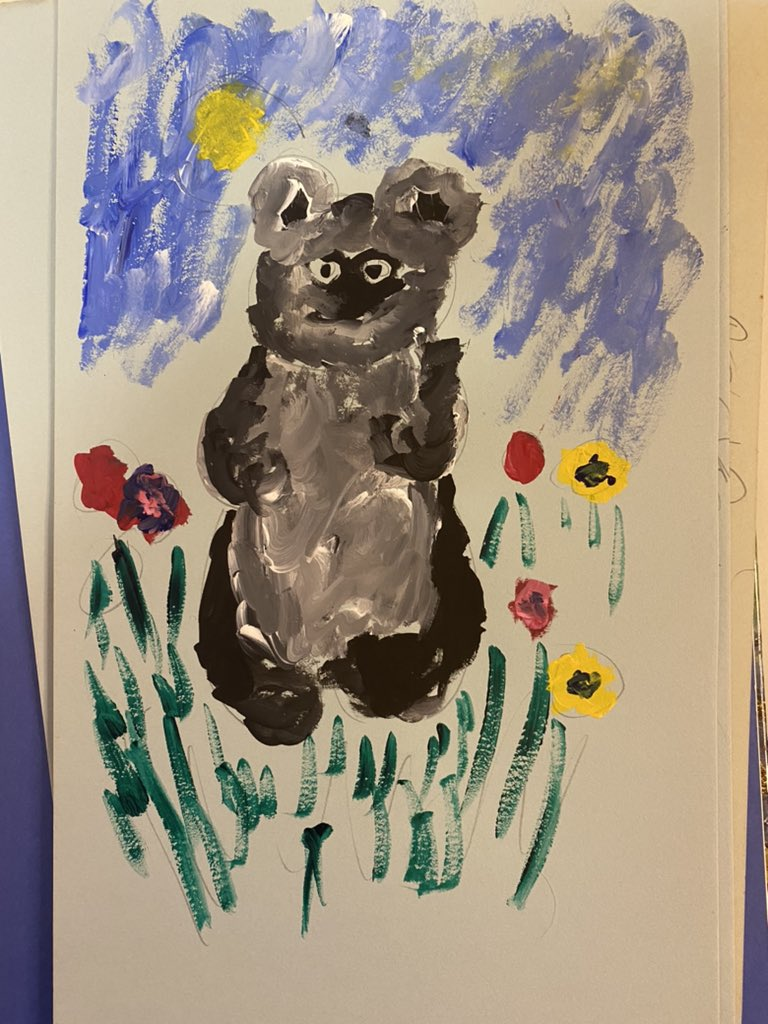 """Thumbing through some files in """"the office"""" and came across this gem.  I painted this at my grandparents house and the my kept it.  It is probably supposed to be a beat but I am going to just call it what it is... an ewok! #nerd #officetreasures #newartwork https://t.co/7OoU3cLlTY"""