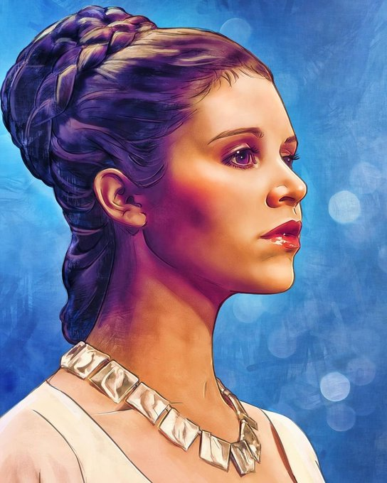 Leia.  Happy Birthday to our Princess Carrie Fisher. Art by Daia