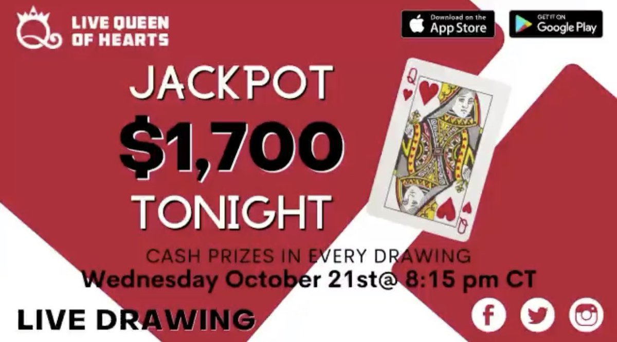 $1,700 Live Queen of Hearts Drawing Tonight at 8:15 PM CT.   #livegame #jackpot  #winners  #raffle  #contestgiveaway  #livehost #vfw https://t.co/va9eMJC0n1
