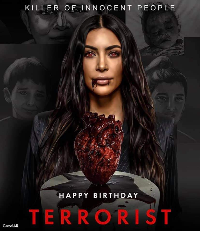 #KimKardashian donated $ 1 million to Armenia to buy weapons and ammunition. As a result, Armenian SCUD rockets targeted the city of #Ganja at night when everyone was sleeping, and as a result, many people, including children, were killed and injured. #HappyBirthdayTerrorist https://t.co/rRliALFzUe
