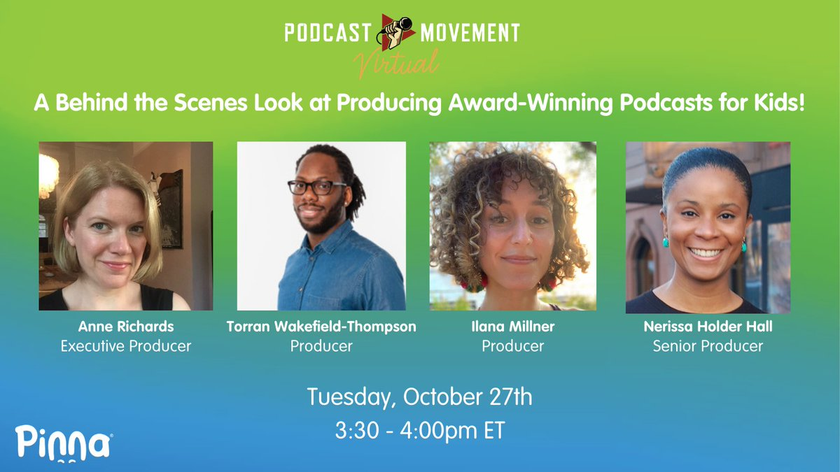 Go behind the scenes to get insight into how kids' podcasts are developed and produced! Members of our talented production team at Pinna will be presenting on a virtual panel for @PodcastMovement on Tuesday, 10/27 at 3:30pm ET. Tune in and don't miss out! #podcastmovement https://t.co/I3LWQ7v44C