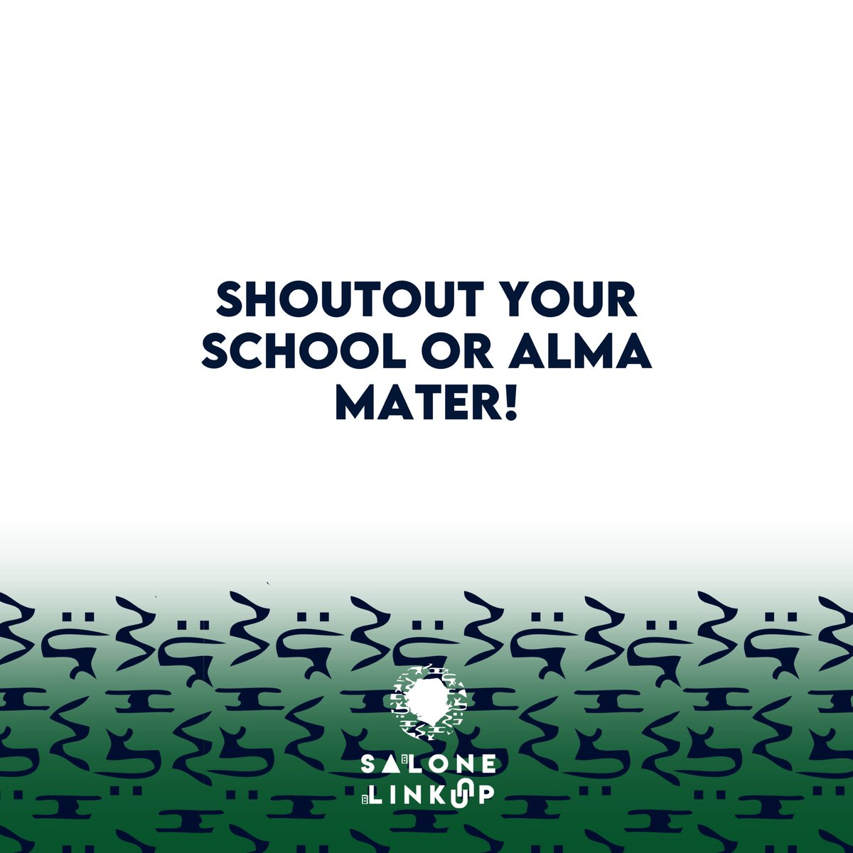 Shoutout your school or alma mater and tell us what your school is known for. . . . . #SaloneLinkup #YSLP #SaloneGrad #SaloneTwitter https://t.co/tGvEGis1Mc