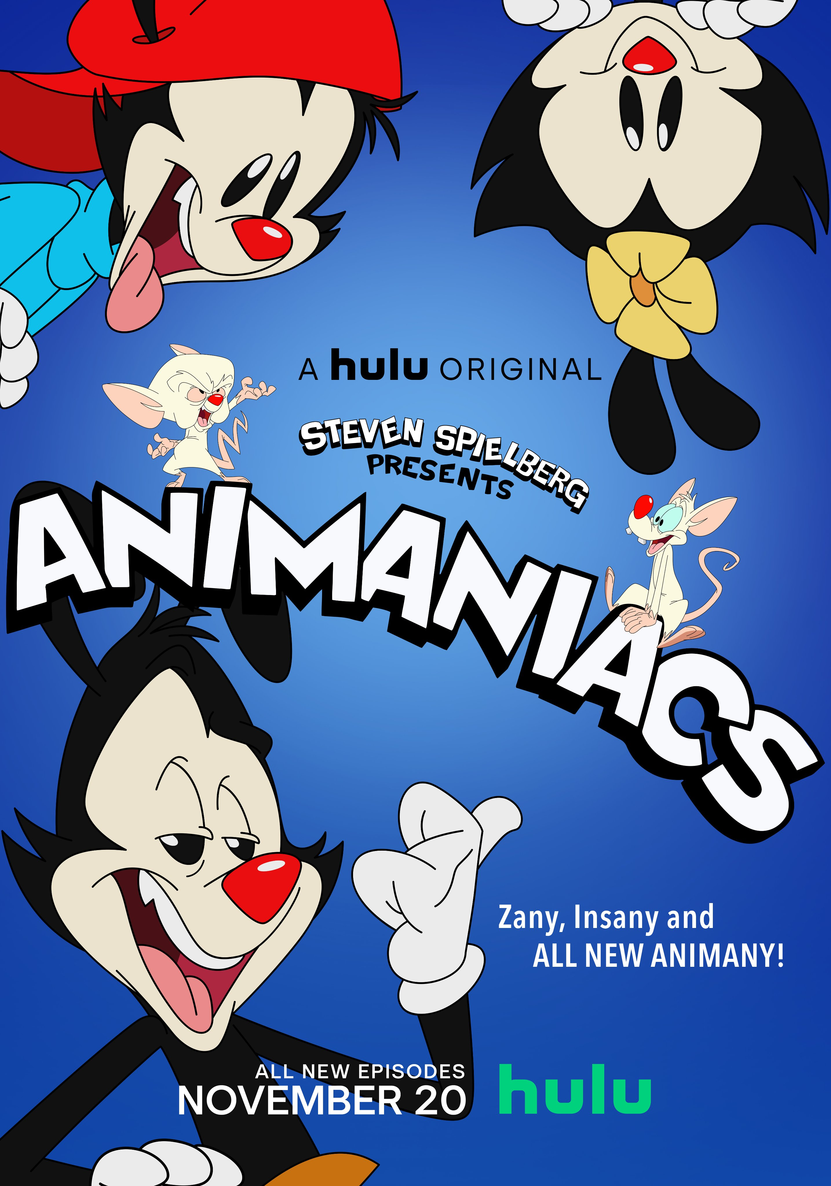 A Hulu original  Steven Spielberg presents Animaniacs Zany, Insany, and ALL NEW ANIMANY! ALL NEW EPISODES NOVEMBER 20 on HULU  Arriveranno anche su Disney+?