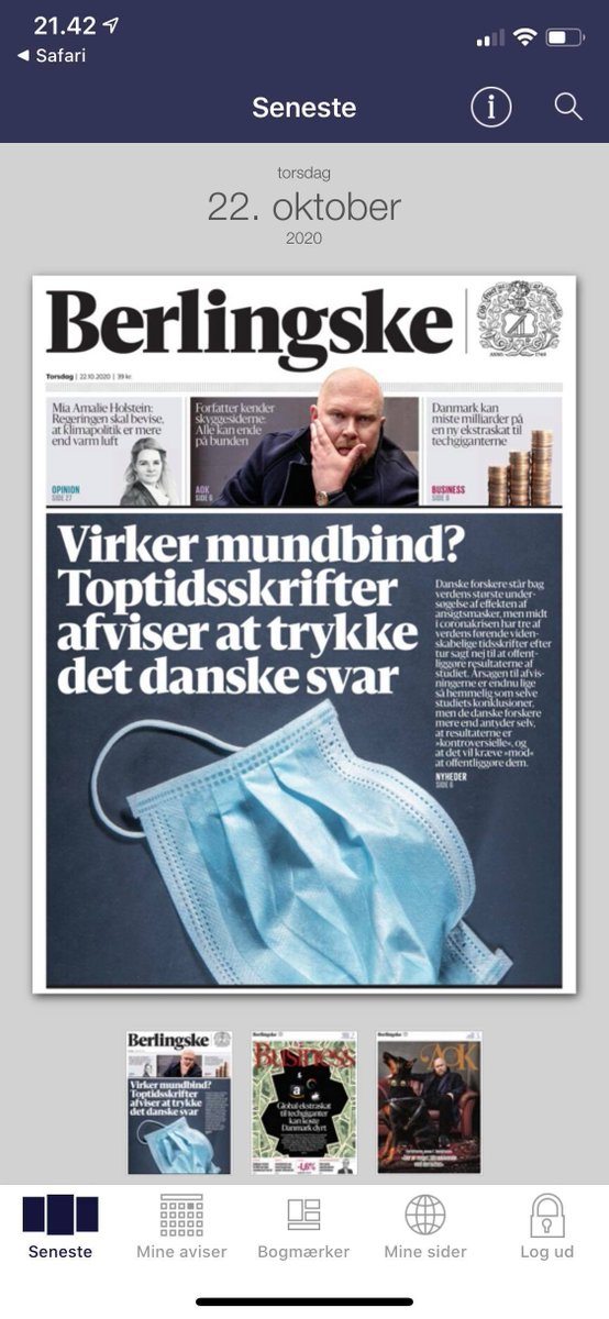 According to the Danish newspaper @berlingske tre scientific journals have refused to publish the results of the first major scientific investigation the effect of use of masks during the Covid-19 pandemic. Apparently because the results might not show what is politically correct https://t.co/OJ6ZRq8idp