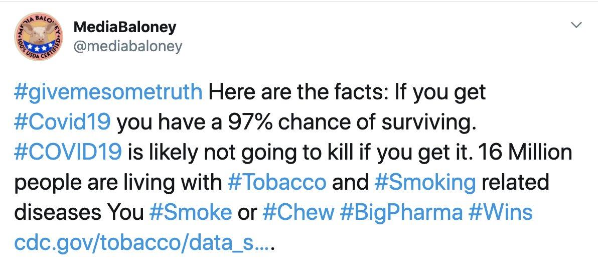 @JoeBiden You #smoke or #chew #BigPharma #wins #Tobacco #Kills  #COVID19 has a 97% survival rate. #Trump2020   https://t.co/zlB7hV5KUa https://t.co/0QPslx9PLt