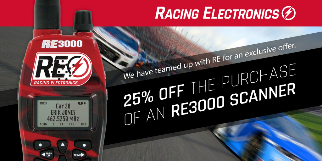 Racing Electronics will not be on site next weekend, but weve teamed up with @REradioz for an exclusive offer just for yall! Order a RE3000 scanner today and take 25% off the purchase using code MS25 at checkout 👍 🔗 : nas.cr/3mave5W