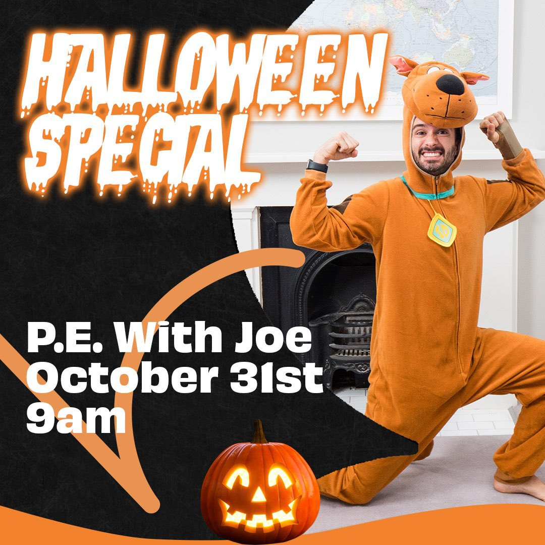 BOO! 👻 PE With Joe is coming back for a Halloween Special 🎃 Get dressed up in your best #Halloween costumes and join me for a freaky family workout on October 31st at 9am on my YouTube channel 😱  Who's in? 🎃  Please RT so we can get more people  involved 👹  #pewithjoe https://t.co/rcaMMsQL27