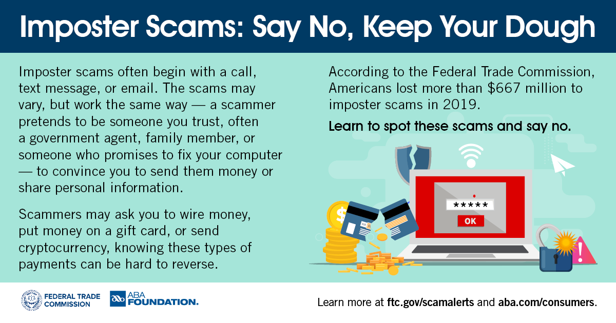 """FTC on Twitter: """"How to spot, avoid, and report imposter scams: https://t.co/hqJVwYMf34 #SayNoKeepYourDough… """""""