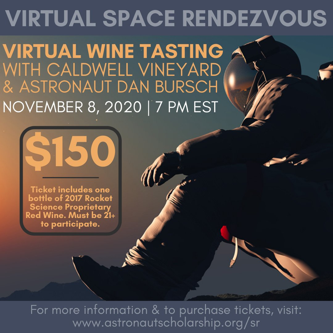 T-minus 4 days left to purchase your Virtual Wine Tasting tickets!  Don't miss the Virtual Rocket Science Wine Tasting with Astronaut Dan Bursch and Caldwell Vineyard on 11/8. Tickets will close on 10/25.  To purchase your tickets, visit: https://t.co/Y3MzCDIXh0 https://t.co/B7eL78YHAI