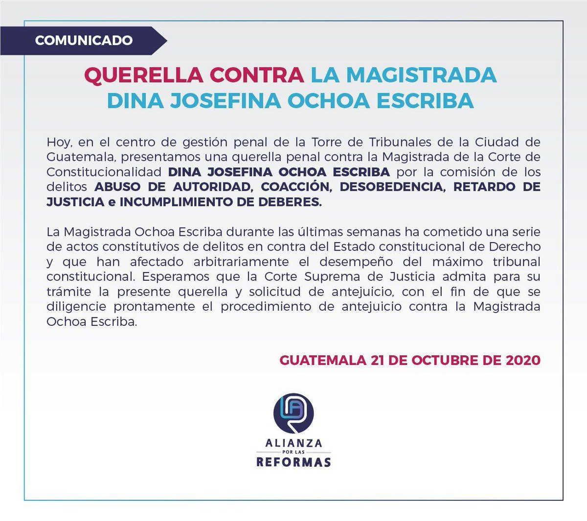test Twitter Media - Alianza por las Reformas informó que presentó una querella penal contra la magistrada de la CC, Dina Ochoa, argumentando que ha cometido una serie de actos constitutivos de delitos. https://t.co/0md3hQ3BN9
