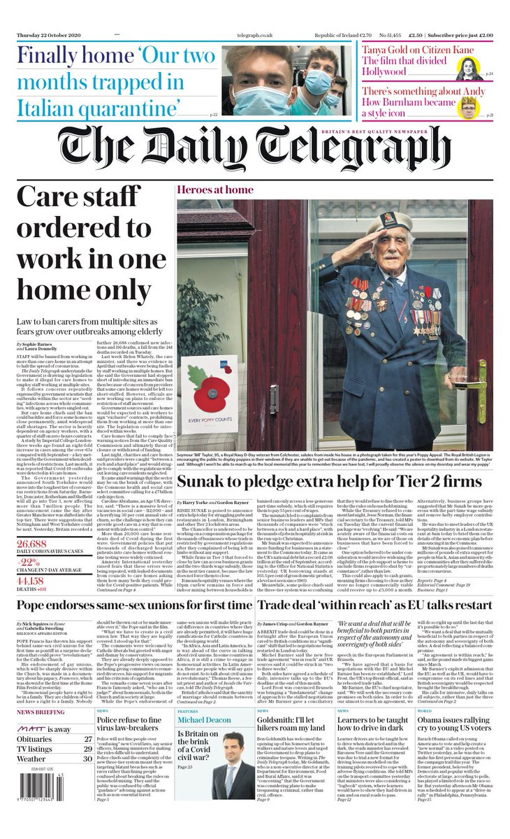 TELEGRAPH: Care staff ordered to work in one home only #TomorrowsPapersToday https://t.co/4fQTVV3UI5