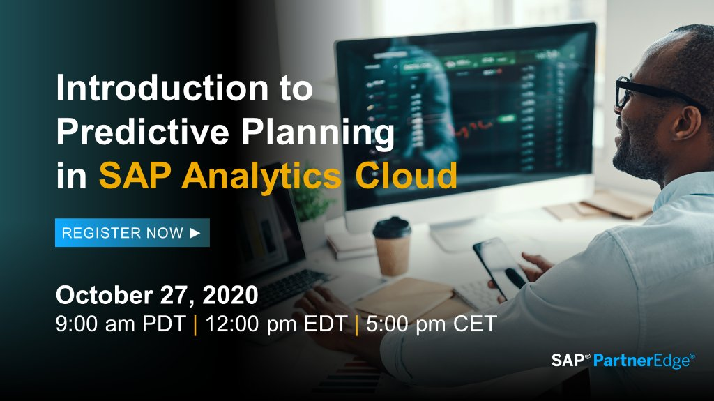 Experience the Future of Decision Making: Join SAP product expert for an overview of predictive planning in SAP Analytics Cloud and how these capabilities add value to your customer's business — includes a demo and Q&A for #SAPPartners.  Register now ▶️ https://t.co/59KW2W4mmB https://t.co/iuQSQLRsAY