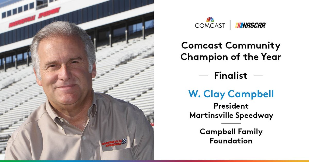 With great humility, @MartinsvilleSwy president Clay Campbell has worked tirelessly making Henry County the best that it can be with the Campbell Family Foundation. It's amazing to have him as a 2020 #ComcastCommunityChamp finalist.