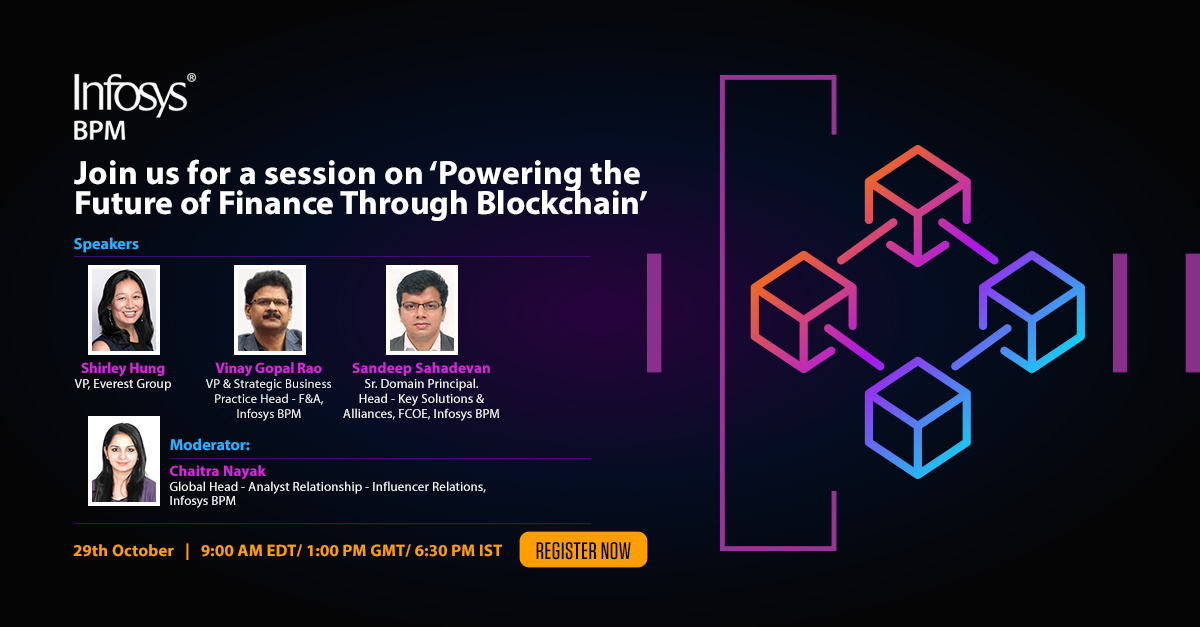 .@ShirleyHung4 will join a panel of BPM F&A experts from @InfosysBPM who will discuss #blockchain as an important technology lever in #FinanceTransformation and its potential to influence the future of Finance. REGISTER https://t.co/sHx40U7lyD https://t.co/74K4eXAcQq