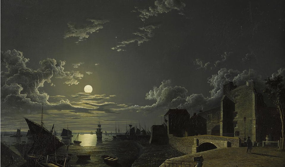 In anticipation of @NASA's announcement about the moon, tonight's goodnight image is 'God's House Tower by Moonlight', Abraham Pether, oil on canvas, before 1812. Sleep tight. https://t.co/hJAwYJGpSE