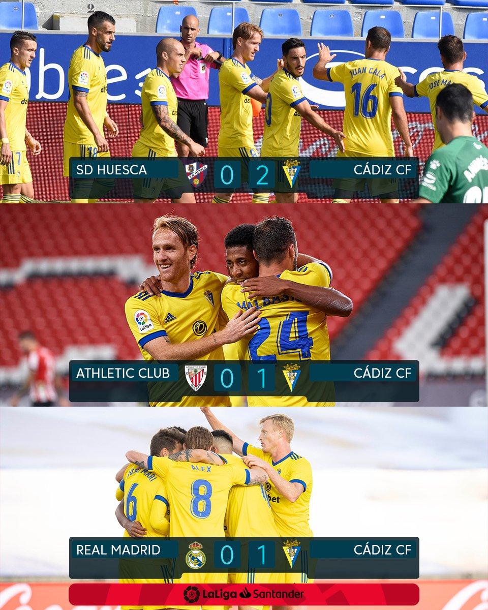 ☑ Huesca 0x2 Cádiz ☑ Athletic 0x1 Cádiz ☑ Real Madrid 0x1 Cádiz  3 jogos, 3 vitórias e nenhum gol sofrido. O @Cadiz_CFPT tem a melhor campanha como visitante na #LaLigaSantander! 💛💙💪 https://t.co/2kKPT2m1ZV