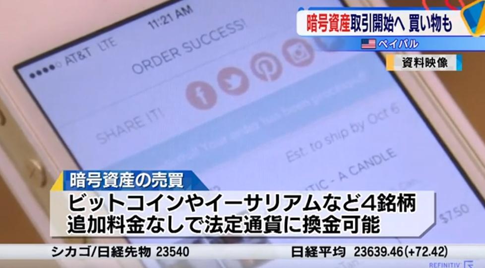 【5.5%高】米ペイパル、仮想通貨に対応と発表 ビットコインが高騰:日本経済新聞