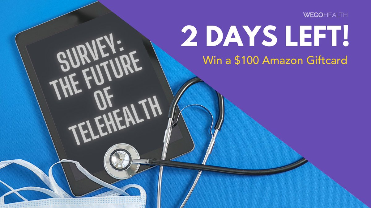 There's only 48 hours to share your #PatientPerspective on the future on #Telehealth post COVID-19. 💻  Respond for a chance to win a $100 Amazon gift card: https://t.co/kiKcZEUlyY https://t.co/92dfhQ5rnt