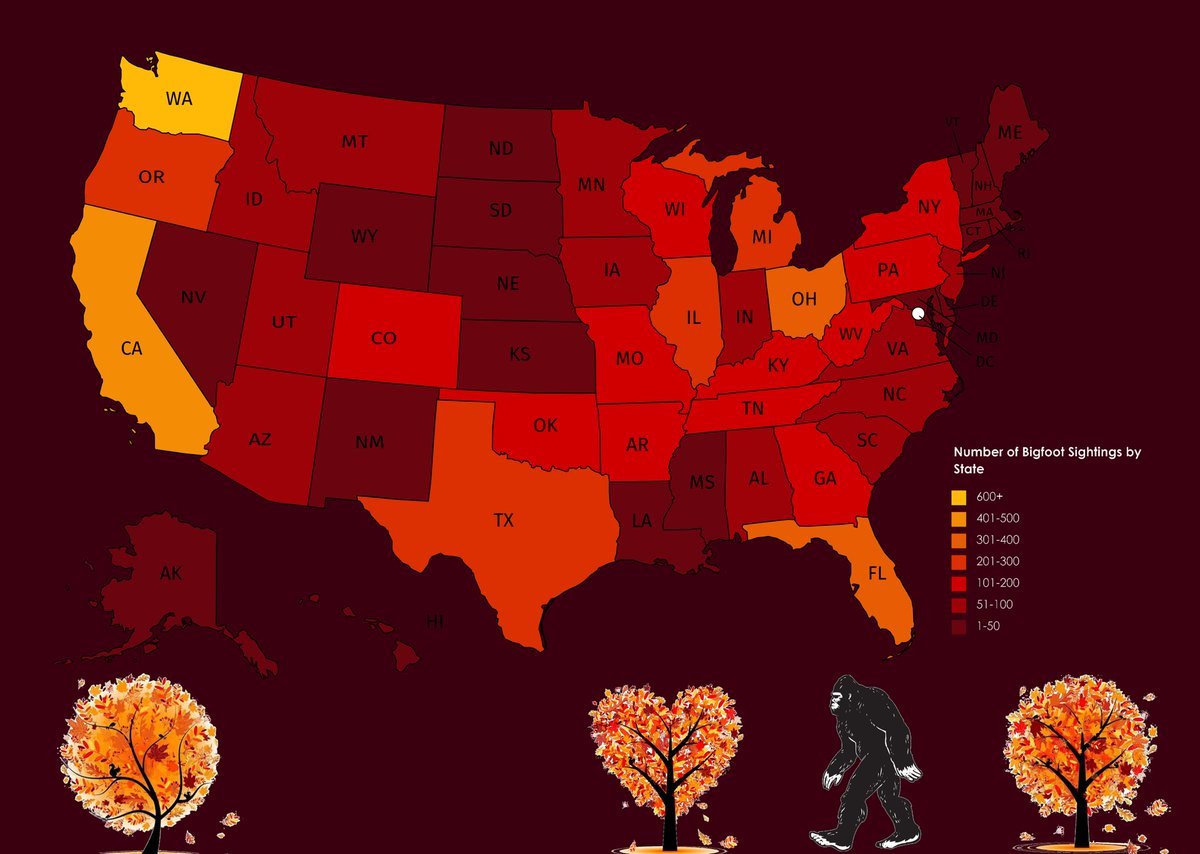 I think I'm overdue for another spooky szn map. I wanted to do something with monsters so I settled on.... Bigfoot 🤣 heres the number of Bigfoot sightings by state. I know the colors should be reversed but this is the most *fall* looking color scheme I've ever made 🍁🍂🍁 🗺😍🦄 https://t.co/ki2ie6Gm5C https://t.co/3asL42gojj