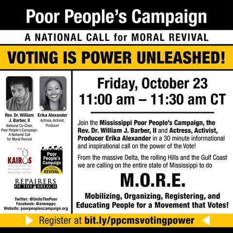 We are super excited to join @RevDrBarber and @EAlexTheGreat to discuss what could happen in Mississippi when we unleash the power of our vote!!   ‼️It's not too late to register:  ‼️ https://t.co/5jzUZvFNAf