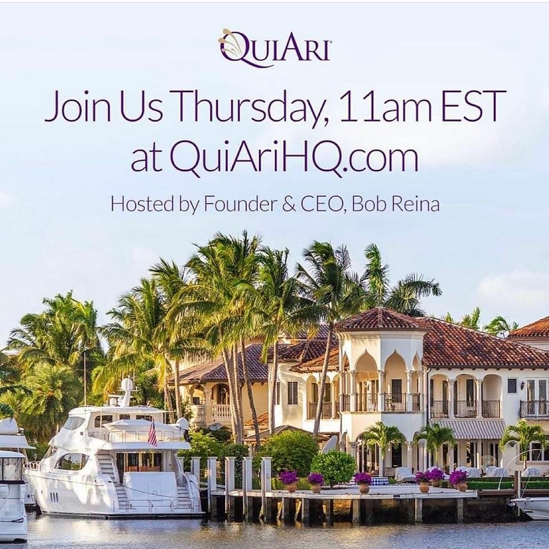 """You have to have a Dream before your       Dreams come True"".   Join our CEO- Mr.Bob Reina  Thursday for a very Special Broadcast on ""Dreams"".   See you all there! 💜💜💜  #DreamBig #Dreams #DreamItDoIt #Quiari https://t.co/j9hKeYF0JX"
