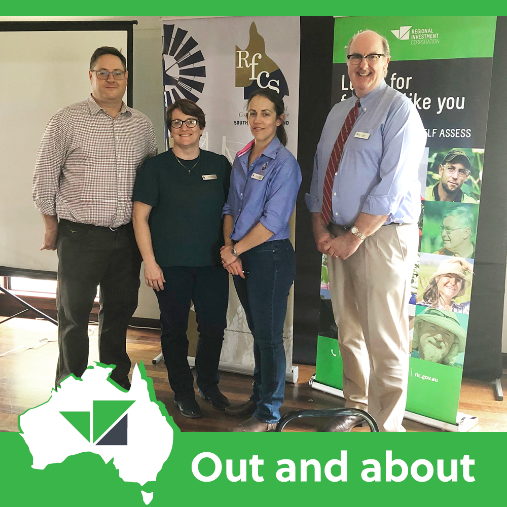 Rural financial counsellors Derk Abberfield, Kath Clarke and Alison Paulger with the RIC's Craig Turner (@OzCorriedale) at the @RFCSSQ Equipped for Finance event in Gympie https://t.co/YDsXqP3cBL  #ricloans #agribusiness #investment #finance https://t.co/mvzTEeQn1A