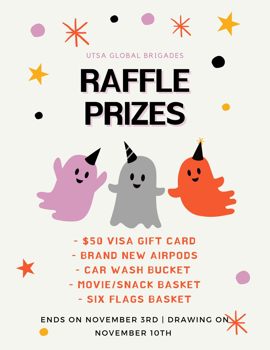 Hey everybody!! Here is a list of our prizes for our current raffle that is happening now until November 3rd 🥳 !! #raffle #utsa https://t.co/AO6JgbDrLf