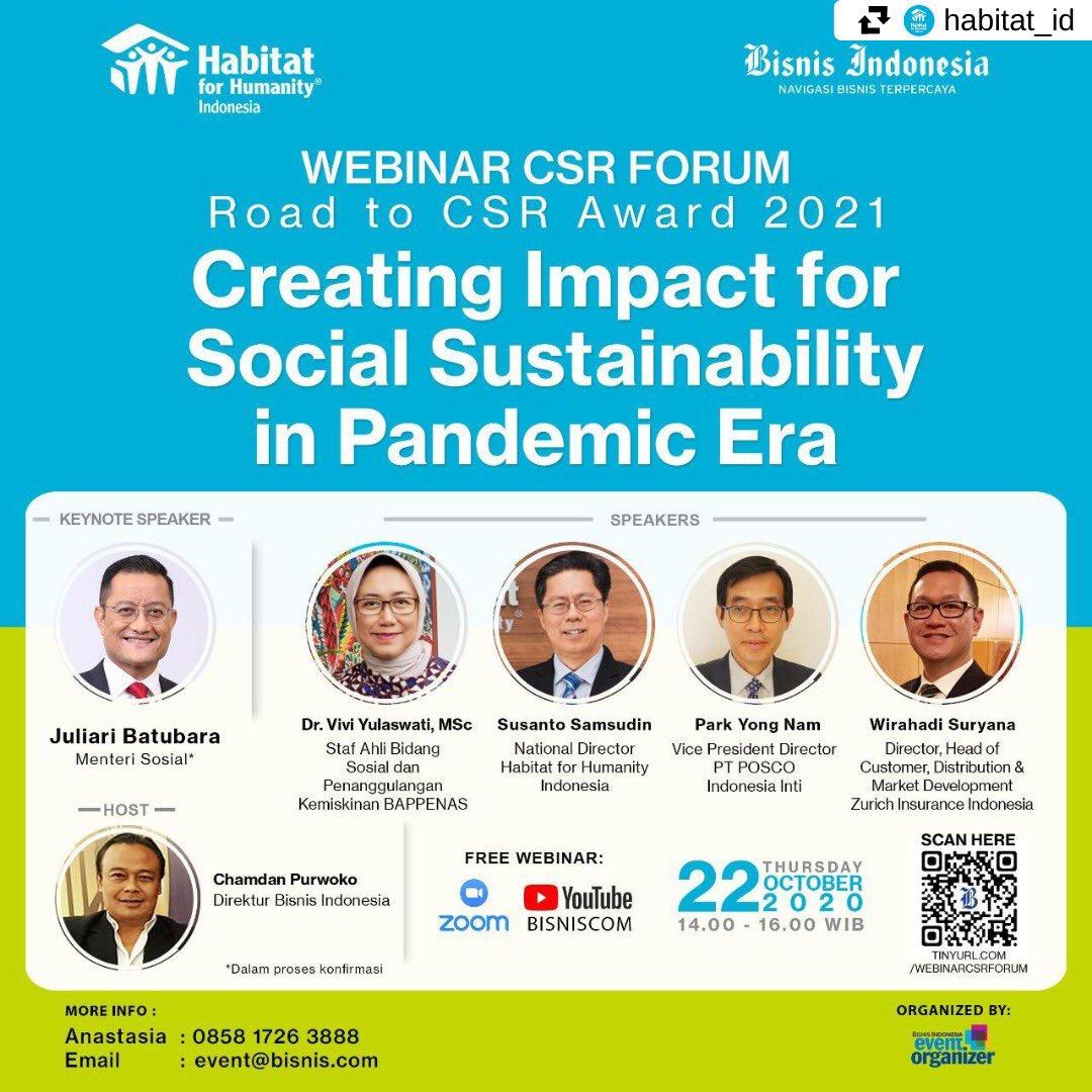 #KabarAnggota #Repost @HabitatID • • • • • • Habitat for Humanity Indonesia bersama @Bisniscom mengajak para pelaku bisnis mengambil bagian dalam perjuangan untuk bersama bertahan di masa pandemi dan mendukung Indonesia keluar dari masa pandemi ini. https://t.co/bqdjoOhVWq