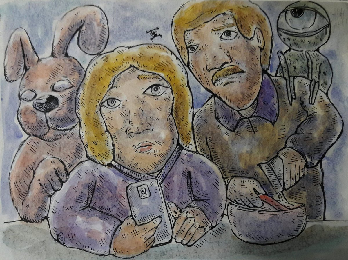 """ Breakfast  "" #GD  #artwork🎨  #ArtistOnTwitter #fantasyart #Magic  #ufotwitter #Heart #space  #animal  #bunny #BreakfastDaily  #characterart  #smile #paintting #artwork🎨 #artshare #sky #hemp  #monsters #peace #streetart  #modernartists  #gddrawer #Galaxy https://t.co/UuCahvdOEI"