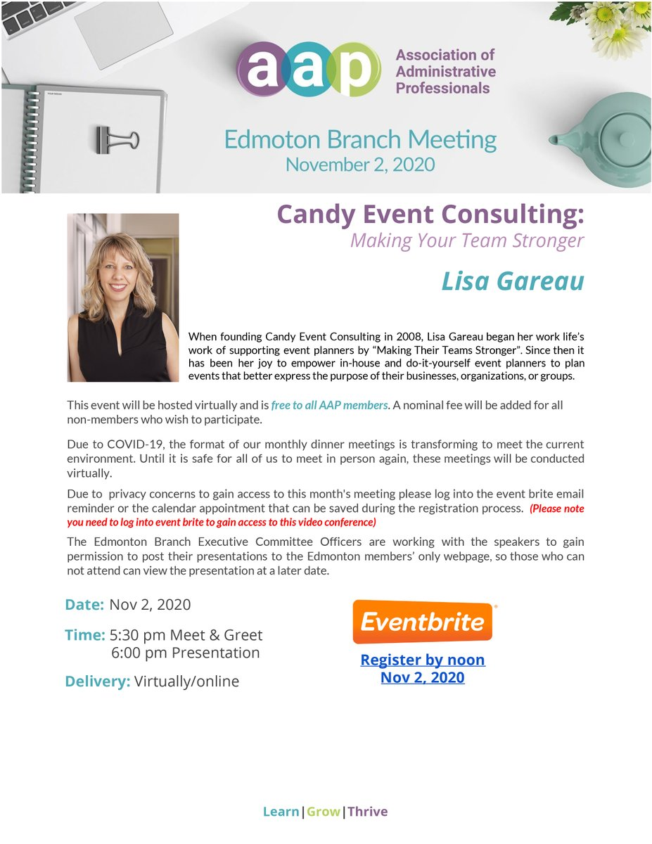 Join us on Nov 2 as Lisa Gareau @CandyEventConsulting : Making Your Team Stronger presents: Get Clear & Planning with Vision!  https://t.co/dN2Sp82Pv4  #AAP #YEG #LearnGrowThrive https://t.co/4VoDwxZQHE