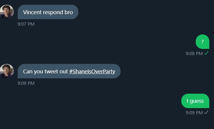 #ShaneIsOverParty Subby told me to tweet this soooo yeah FUCK YOU SHANE https://t.co/bFBOZ5JZgq