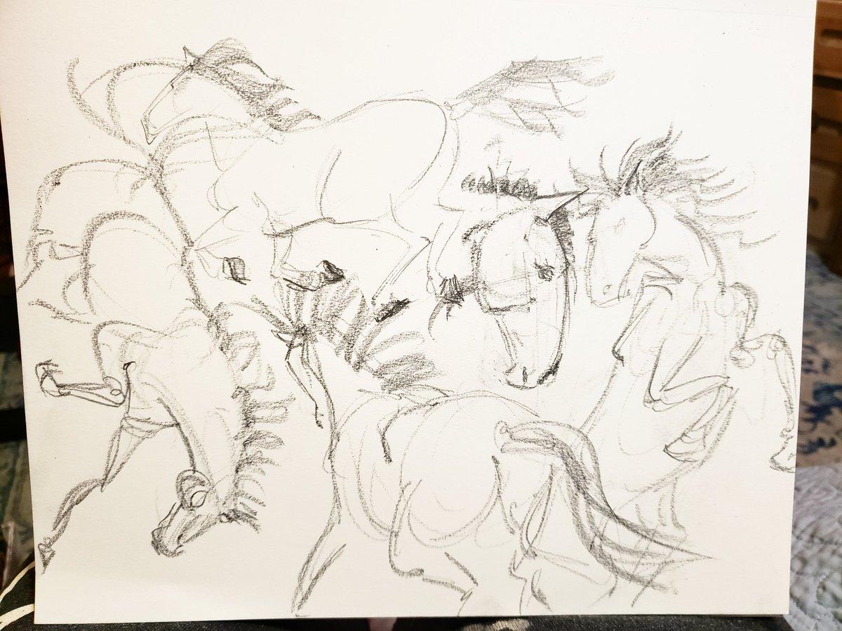 Day Twenty One- Sketching Horses. #horses #gesture #study #graphite #movement #practice https://t.co/cLj6YE0yyf