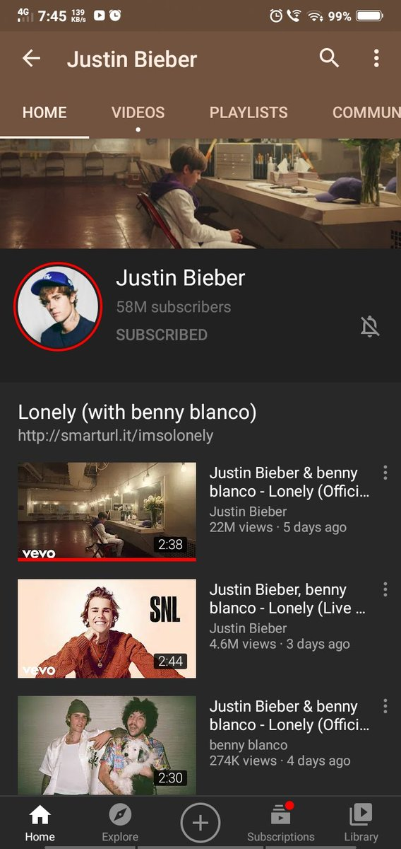 @justinbieber has crossed 58 Million Subscribers on @YouTube.@scooterbraun @ItsBennyBlanco #JustinBieber #LonelyVideo #Beliebers #YouTube @KennyHamilton @JBCrewdotcom @bieberfever @belieberbabes @drewxcompany @pattiemallette #JUSTIN #LonelyOutNow #MusicVideo #JustinBieber #KSI https://t.co/WOlf5QSN04
