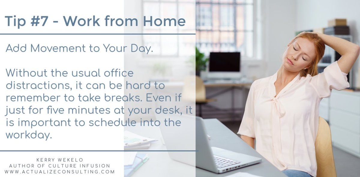 Work From Home Tip: Add movement into your day. Even if just for five minutes at your desk, it is important to schedule into the workday. #movement #wellness https://t.co/wMPuiZRE3a