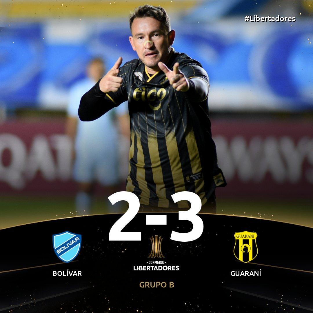 🇵🇾💪 ¡Terminó el partido! ¡Ganó @ClubGuarani en un final increíble en La Paz!  ⚽️ El Aborigen marcó dos goles en el tiempo adicionado y se llevó un gran triunfo por 3⃣-2⃣ sobre @Bolivar_Oficial para ser segundo con 1⃣3⃣ puntos.  🏆 Fecha 6 del Grupo B de la #Libertadores. https://t.co/zi1V1WADuL