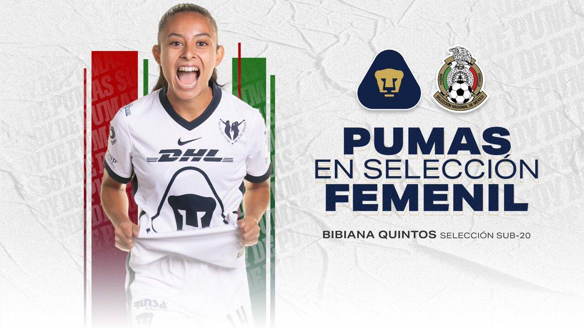 🇲🇽 ¡Felicidades a @quintos_bibi por ser convocada a la selección nacional #Sub20Fem!   #PumasEnSelección #SoyDePumas https://t.co/TbQdDS5WZm https://t.co/E2rQDGyWoX