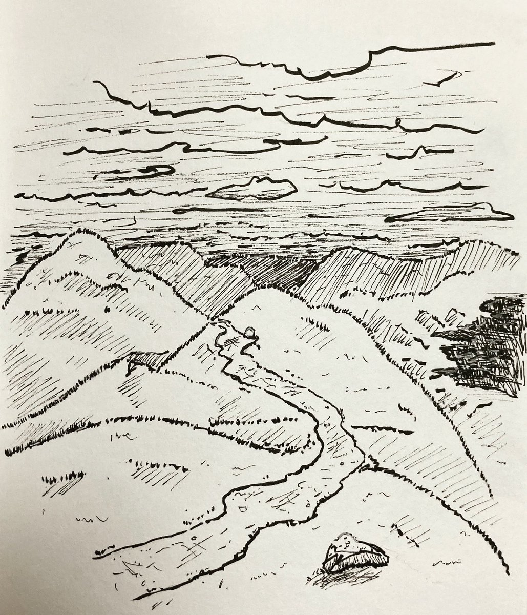 """Scape #13"" ink on parchment , 8x6 inch @JoshuaMMoranArt #ArtistOnTwitter #art #artist #artwork #artistsoninstagram #visualart #contemporaryart #ink #inkdrawing #sketchbook #ptsd #landscape #unpredictable https://t.co/OJfeV1AtoG"