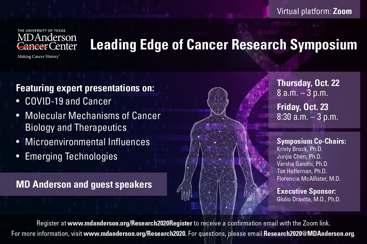 It starts tomorrow! Join us Thursday and Friday as we hear  leading experts discuss how their research is helping us #EndCancer! If you can't join us follow me on twitter - I'll try to keep #MedTwitter informed! @alyson_garth @MDAndersonNews https://t.co/pbr4YEGF7z