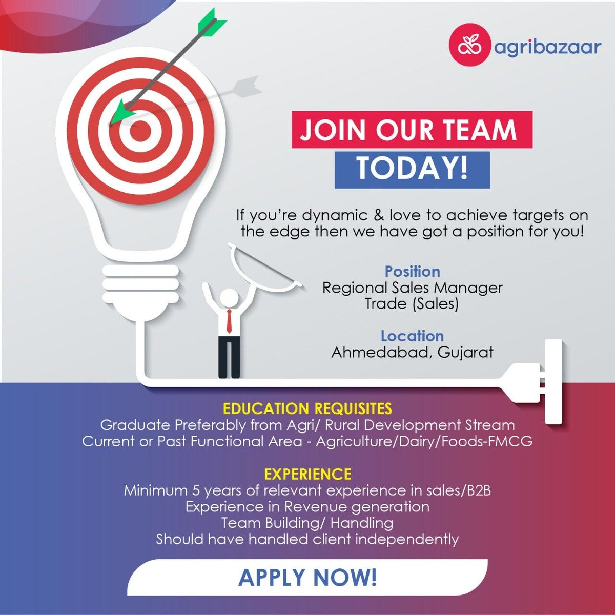 We are Hiring for Regional Sales manager -Trade in Ahmedabad & Gujarat. Apply Now : https://t.co/I3eellQJrN #agribazaar #hiringsales #salesmanager #trade #agribusiness #recruitment https://t.co/9JCmKfkySS