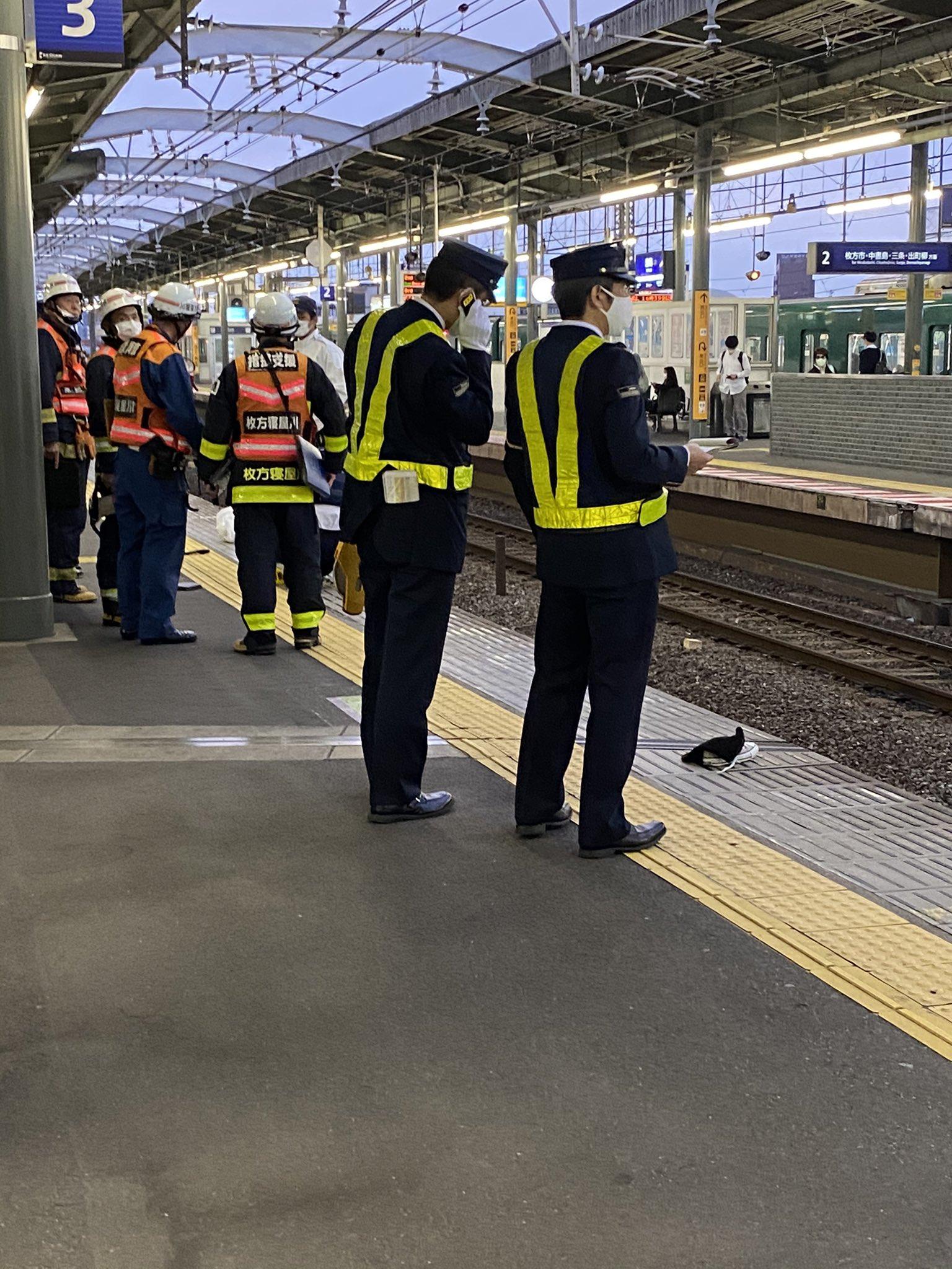 京阪本線の萱島駅で人身事故が発生した現場の画像