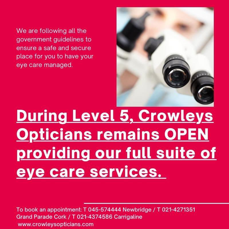 @yaycork @CBA_cork @corkshopping @CorkChamber @ErnCantillon Thanks @yaycork! We're one of the lucky ones who are essential services. We have shops in Grand Parade, Carrigaline and soon to open in Ballincollig. Please support your local, Cork-born-and-bred opticians! https://t.co/5Kbf3IDNHS