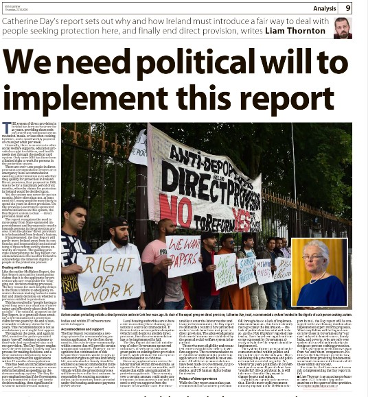 My op-ed in today's @irishexaminer  Political will is needed to implement the #DayReport #directprovision. Also available online: https://t.co/2ujK7oj8s2 https://t.co/vH2RVetEtx