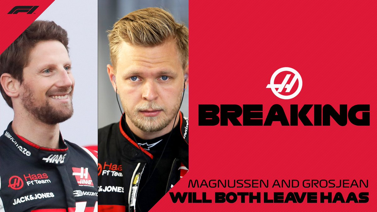 BREAKING: Kevin Magnussen and Romain Grosjean will leave @HaasF1Team at the end of the 2020 season  #F1 https://t.co/yWAwtB1kDD