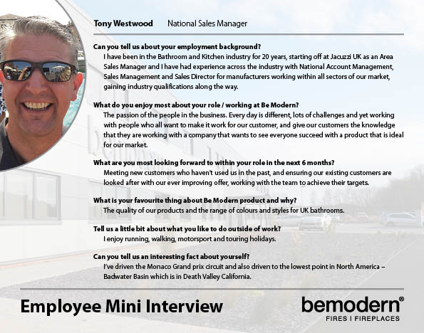 If you haven't had the pleasure of meeting our National Sales Manager, Tony Westwood, why not take a minute to find out a little more about him now!  #ourteam #bemodern https://t.co/ALQws0EEfq