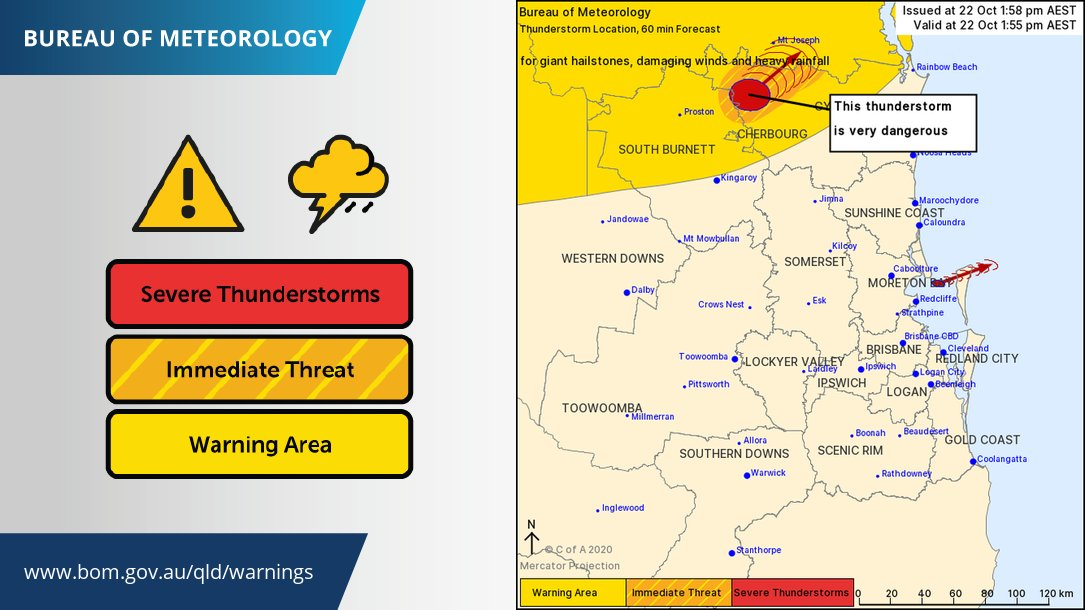 ⚠️Severe Thunderstorm Warning ⚠️active in #SEQld VERY DANGEROUS severe thunderstorm north of #Kingaroy is producing giant hail and damaging winds. The storm is heading NE towards the #WideBay & Burnett district. Warnings and updates: https://t.co/FBmpsInT9o https://t.co/vQmkcxOn2Y